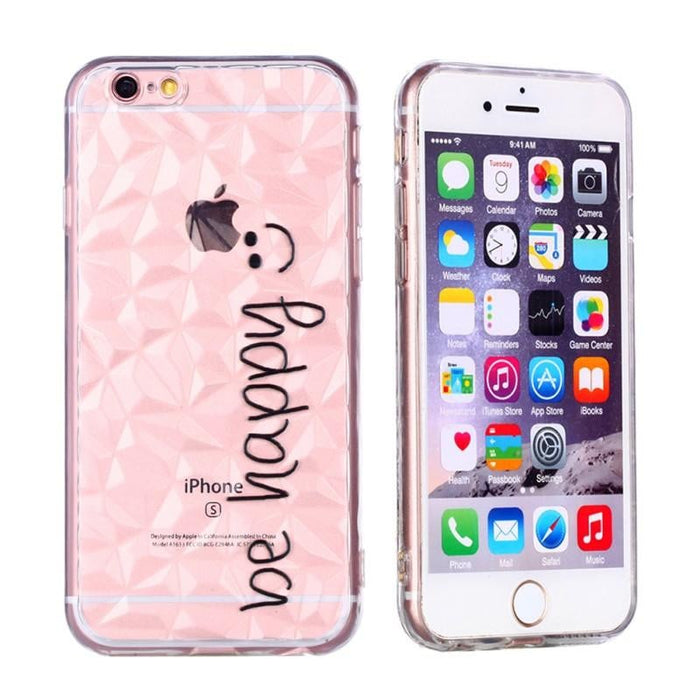 Phone Cover Embossed Varnish Painted TPU Diamond Shock Absorption Shatter-resistant Mobile Phone Shell for Apple iPhone 6 Plus/6s Plus be happy Pattern(Transparent)
