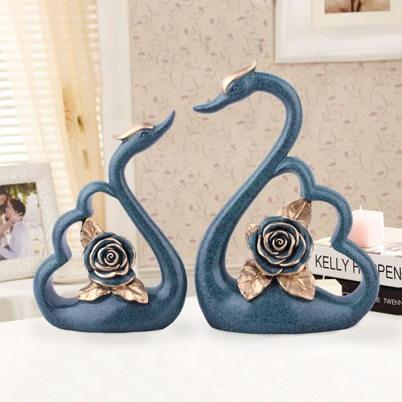 Resin Crafts modern minimalist rose couple swan ornaments European home decorations Wedding gifts #75124