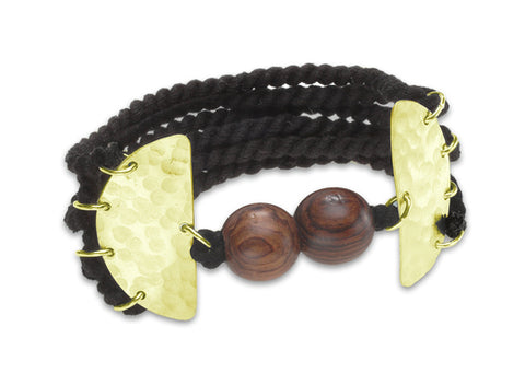 """Maria"" Hand Twisted Thread and Wood Bracelet with Magnetic Closure"