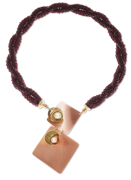 """Blaze"" Deep Purple Glass Hand-Sewn Necklace with Copper & Brass front closure"