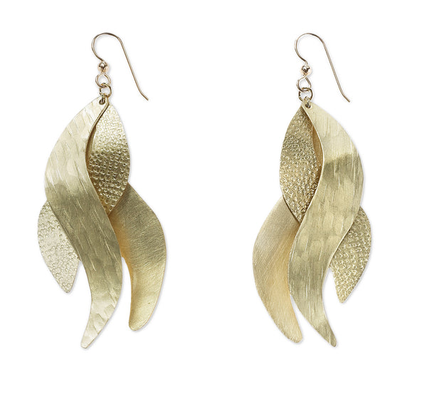 """Sand"" Ocean Wave Dangle Contemporary Earrings-Sterling/Gold Fill Wires"