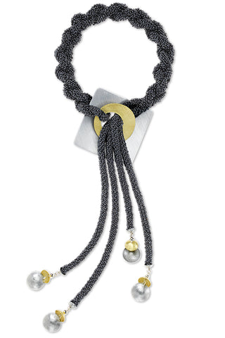"""Mist"" 4 Strand Glass Hand-Sewn Lariat Necklace with Aluminum & Brass"