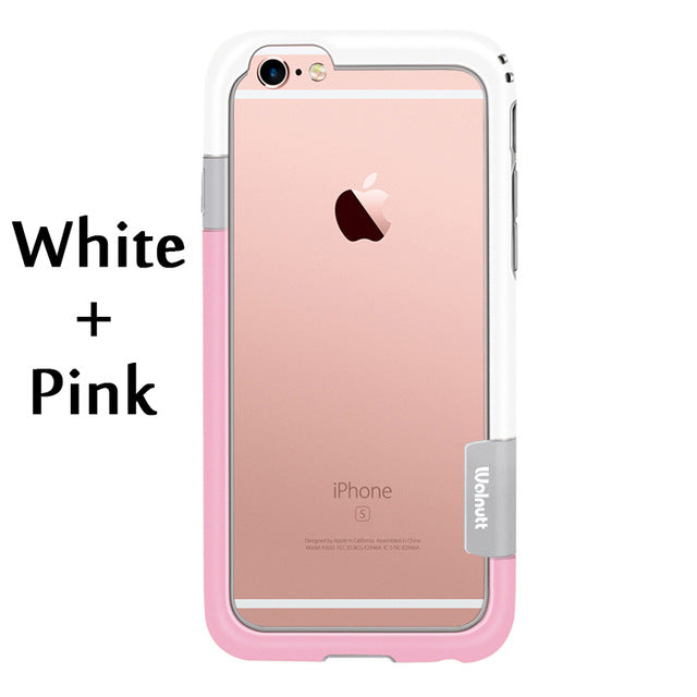 Esamday For 6s Plus 5.5 inch 6 Colors Walnutt Soft TPU Hybrid Bumper Frame Case Cover Side Protection for iPhone 6Plus Wholesale