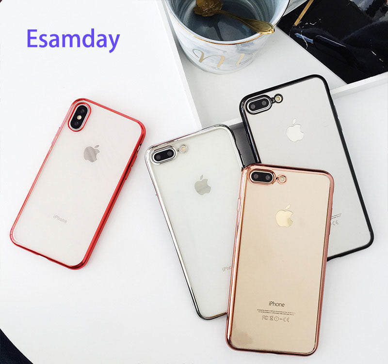 Esamday Luxury Soft TPU Cases for iPhone 8 8Plus 7 7Plus 6 6s Plus Ultra thin transparent Plating shining case For iPhone X Case
