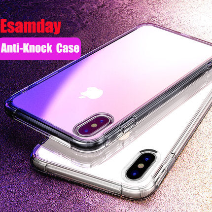 Esamday Shockproof Clear Soft Cases for iPhone5 6 s SE 7 8 Plus 6Plus 6SPlus 7Plus 8Plus X Silicon Luxury Cell Phone Back Cover