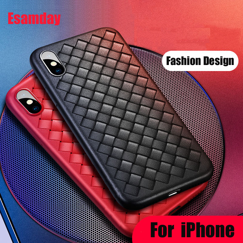 Esamday Luxury Grid Weaving Matte Case For iPhone X 6 6s Plus 7 8 Plus Cases Ultra Thin Soft Silicone Protective Silm Case