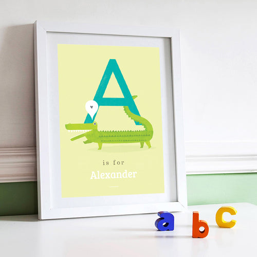 'A' Alligator Print - Personalised