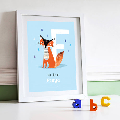 'F' Fox Print - Personalised