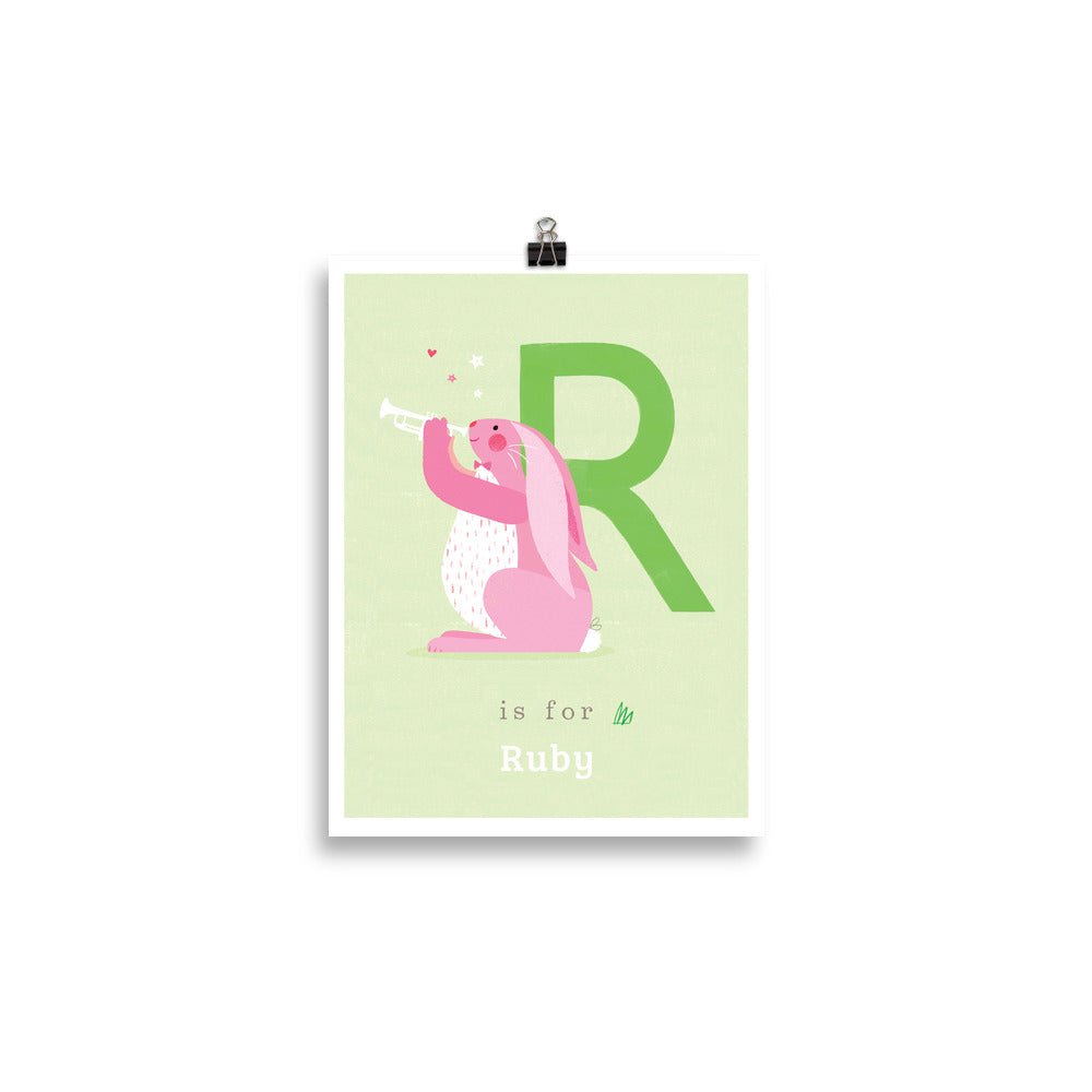 'R' Rabbit Print - Personalised