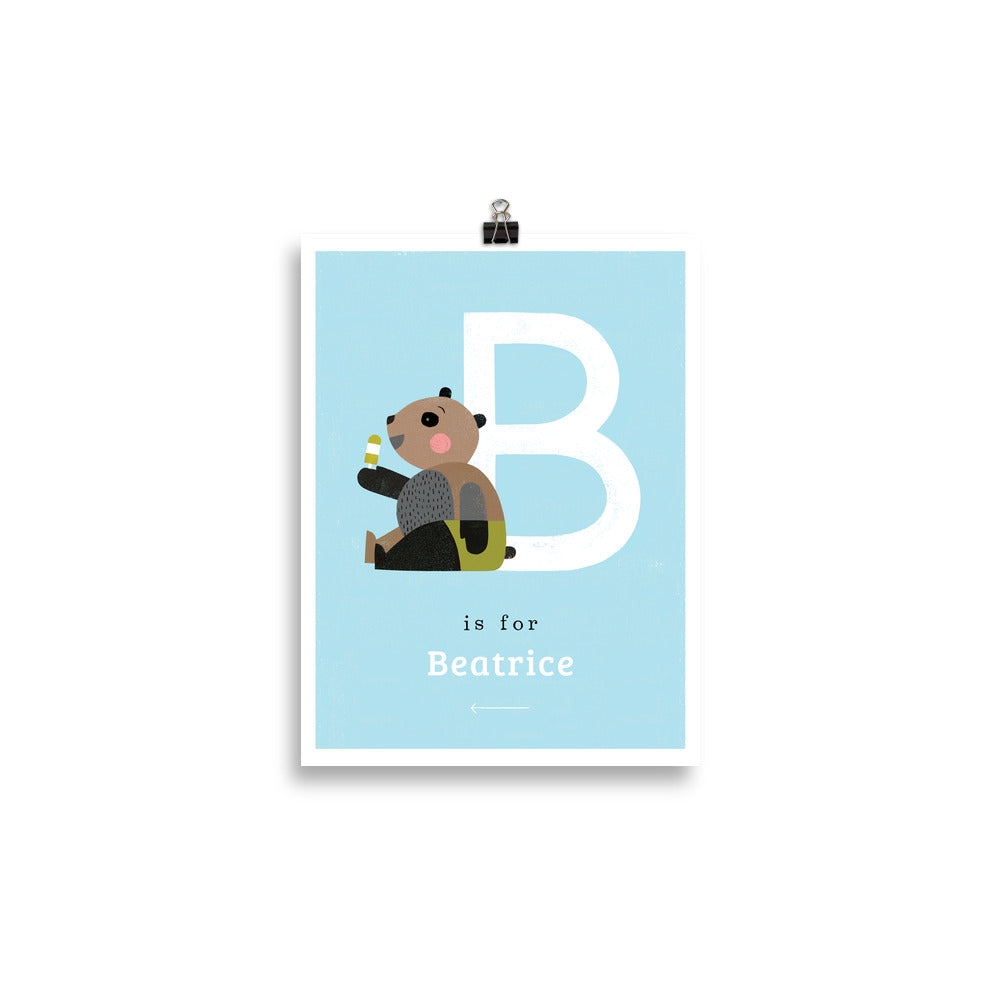'B' Bear Print - Personalised