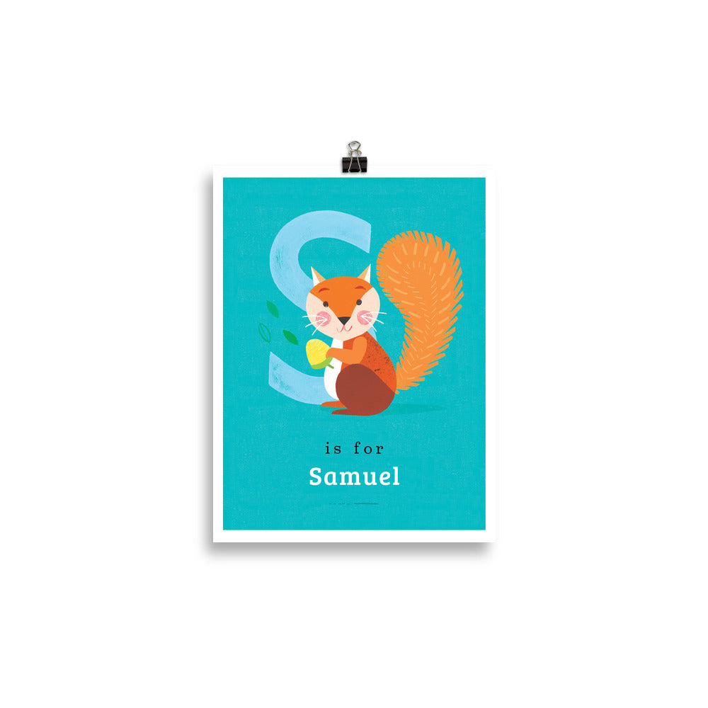 'S' Squirrel Print - Personalised