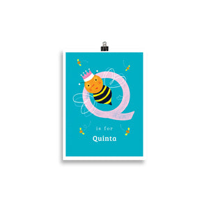 'Q' Queen Bee Print - Personalised
