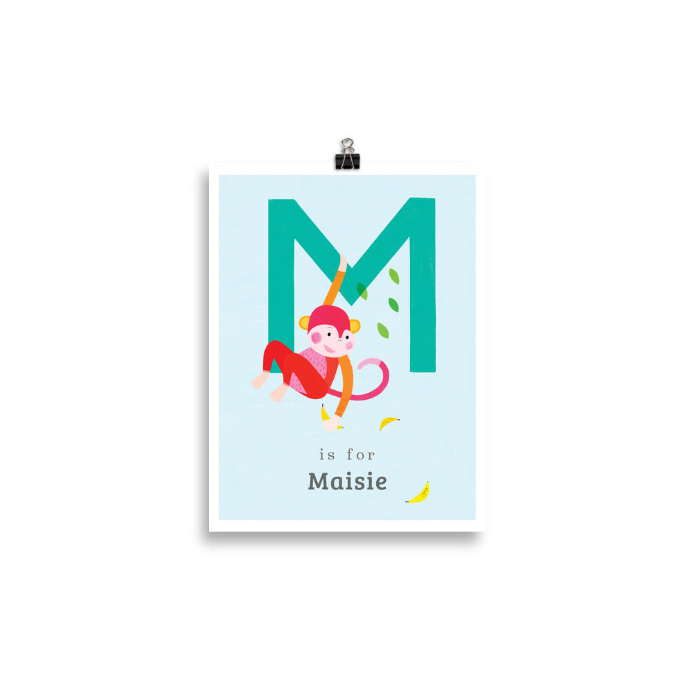 'M' Monkey Print - Personalised