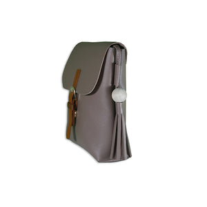 gray satchel bag