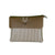 brown white stripe clutch