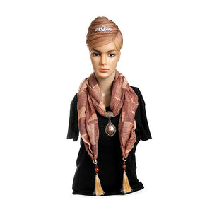 Brown Pendant Scarf