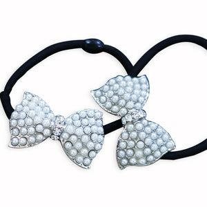 Pearl Bow Ponytail Bands