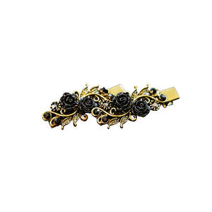 Oxidised Gold Floral Bow Clip Ons