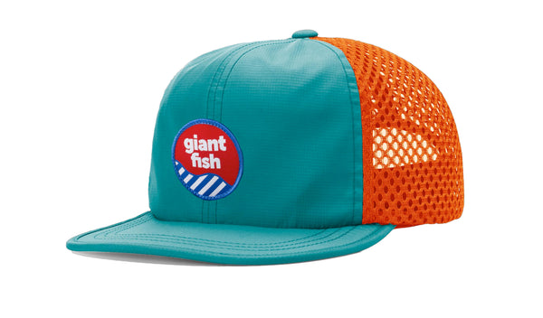 Giant Fish Water Hat, Paddling Hat, Downwind Paddling Hat Teal & Orange