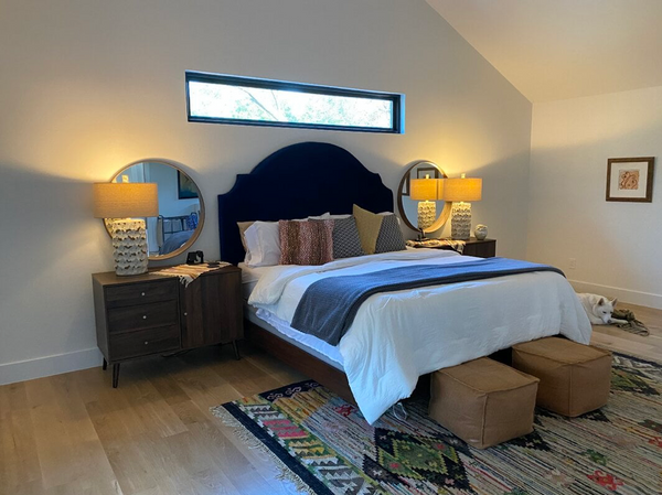 bedroom with down bedding