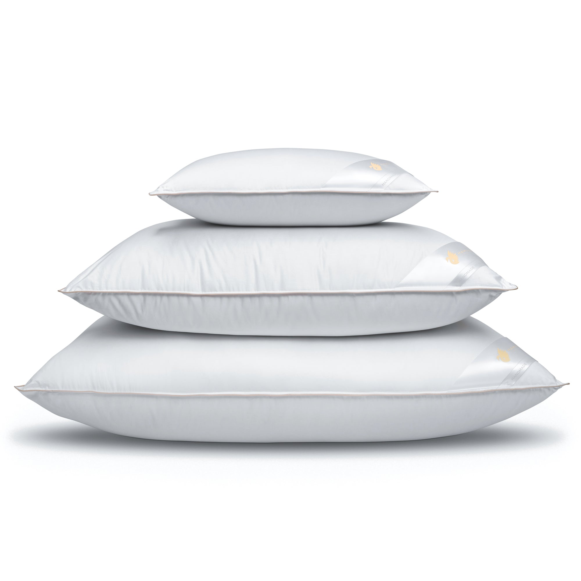stack of 3 Hungarian goose down pillows, various sizes, white