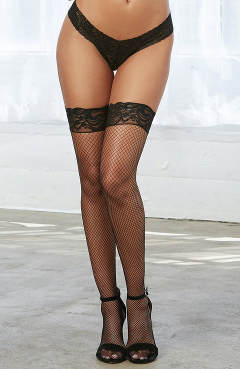 Plus Size Fishnet Thigh High Stockings by Dreamgirl