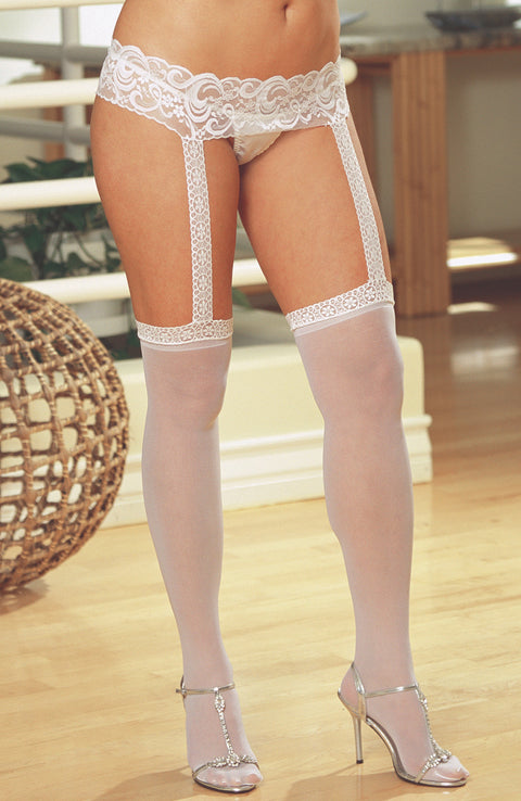 Plus Size Lace Suspender Belt Stockings by Dreamgirl