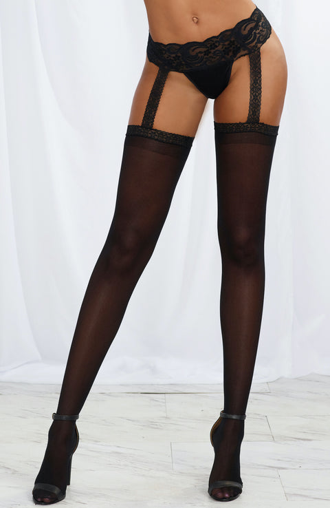 Lace Garter Belt with Attached Stockings by Dreamgirl