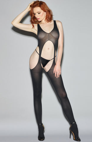 Black Suspender Bodystocking
