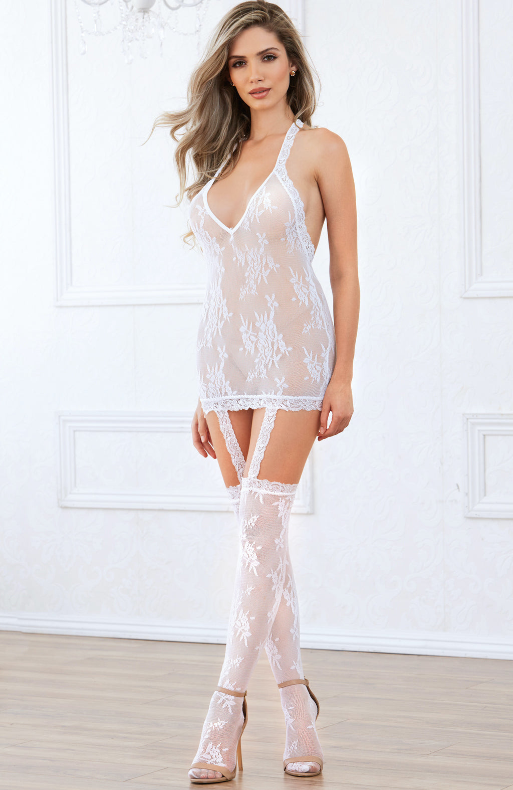 Floral Lace Chemise by Dreamgirl-Chemises-new tempt-One Size-White-Bouji Lingerie