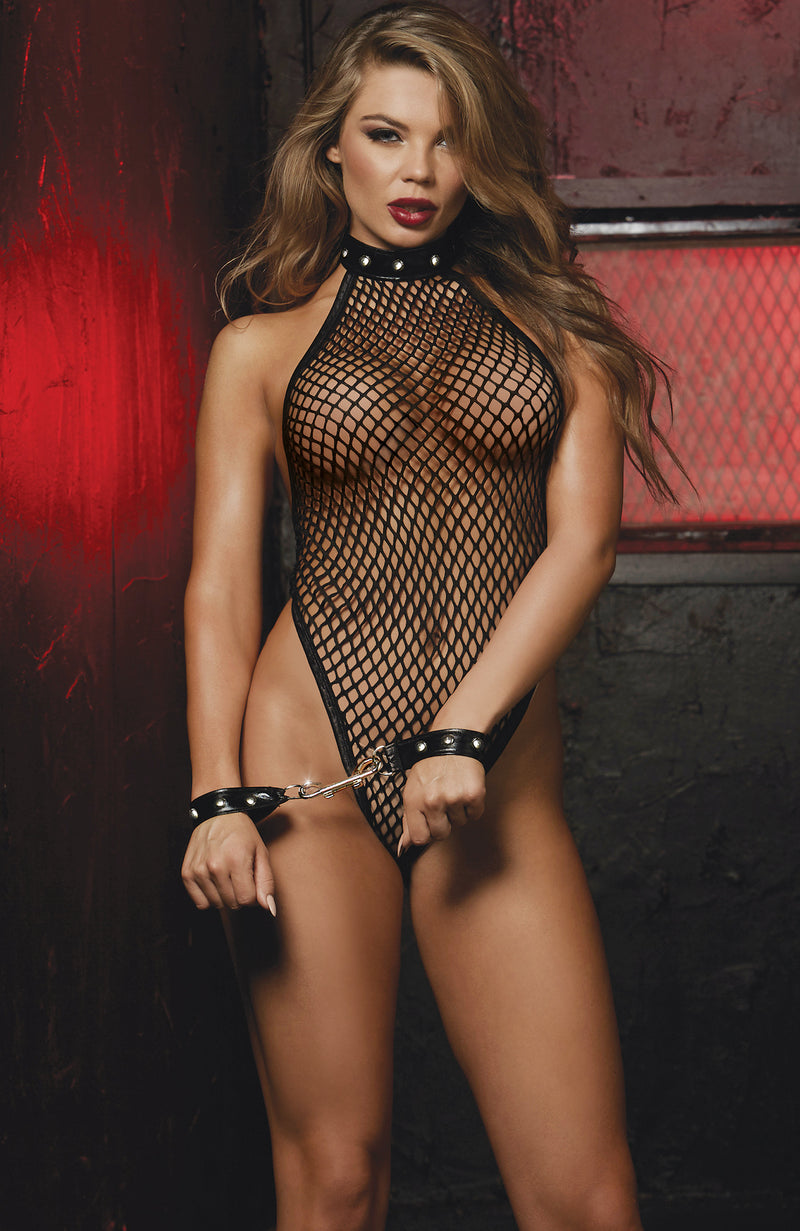 Black Fishnet Teddy with Restraints by Dreamgirl-Teddies-new tempt-One Size-Black-Bouji Lingerie