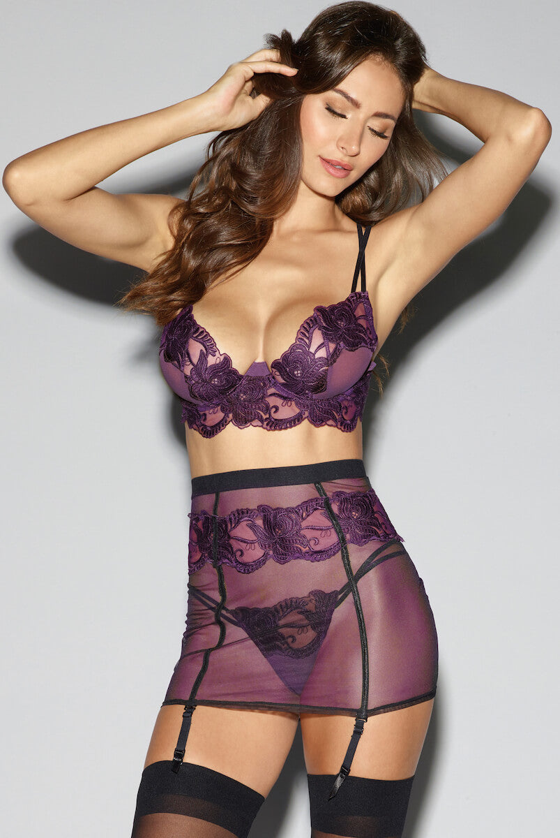 Plum Embroidered Lingerie Set by Dreamgirl