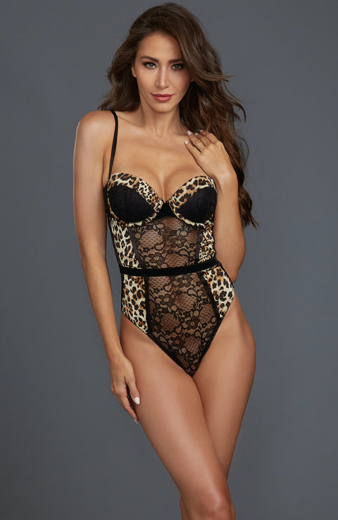 Stretch Lace and Mesh Teddy by Dreamgirl