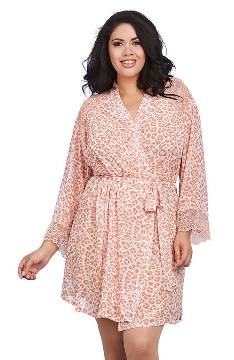 Plus Size Leopard Print Robe by Dreamgirl