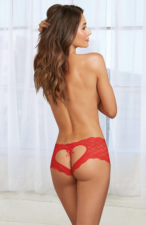 Lace Open Back Knickers by Dreamgirl