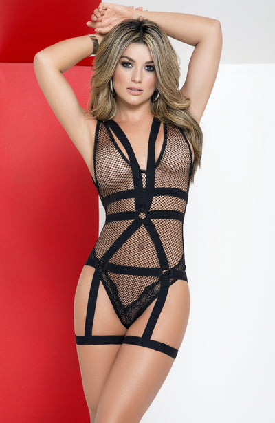 Fishnet Bodysuit with Detachable Harness by Mapale