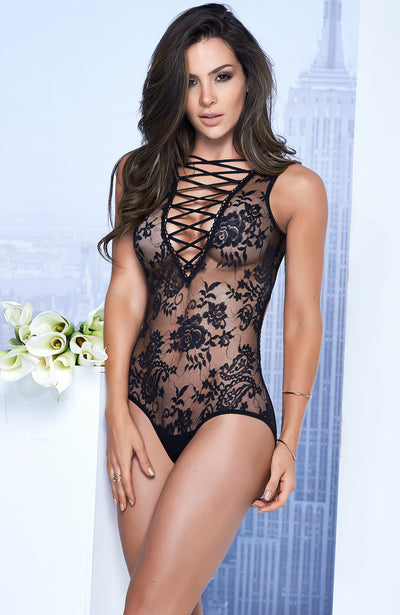 Plunging Lace Up Teddy by Mapale