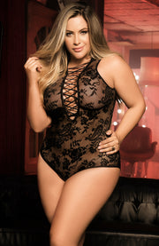 Plus Size Plunging Lace Up Teddy by Mapale