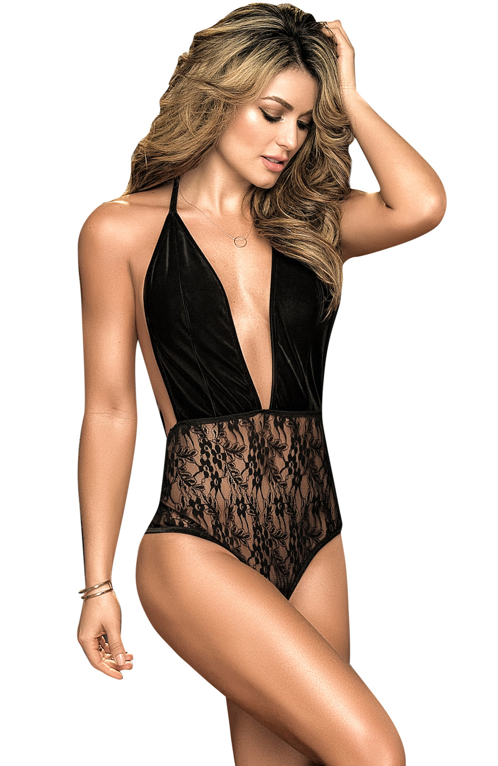 Mapale Contrast Velvet And Lace Teddy-new tempt-Small / Medium-Black-Bouji Lingerie