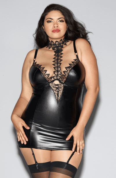 Get the look with this faux leather, wet look chemise with garters - sexy plus size lingerie
