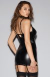 Get the look with this faux leather, wet look chemise with garters