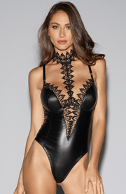 A seductive wet look faux leather bodysuit with underwired moulded cups