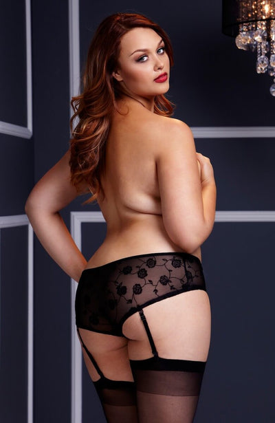 Plus size crotchless knickers with detachable suspender straps in black - back image