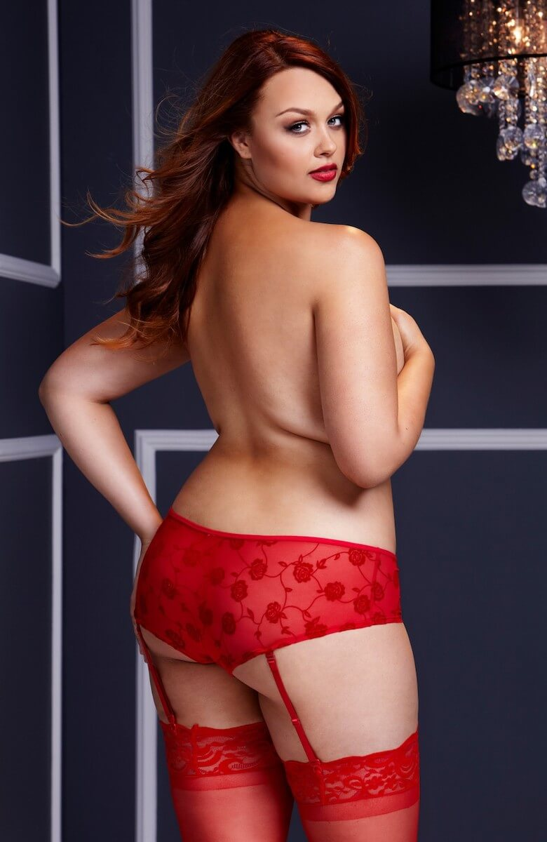 Crotchless knickers with detachable suspender straps in red - back image- plus size lingerie