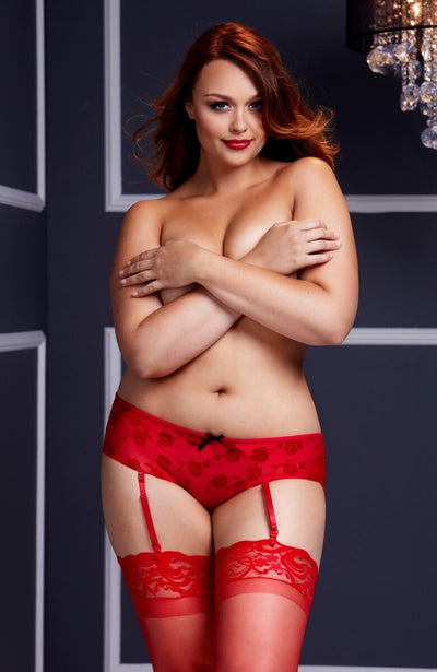 Crotchless knickers with detachable suspender straps in red - front image- plus size lingerie
