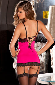 silky pink chemise with lace trim