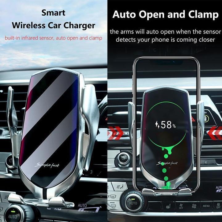 Car Phone Holder, Wireless Automatic Sensor Car Phone Holder and Charger