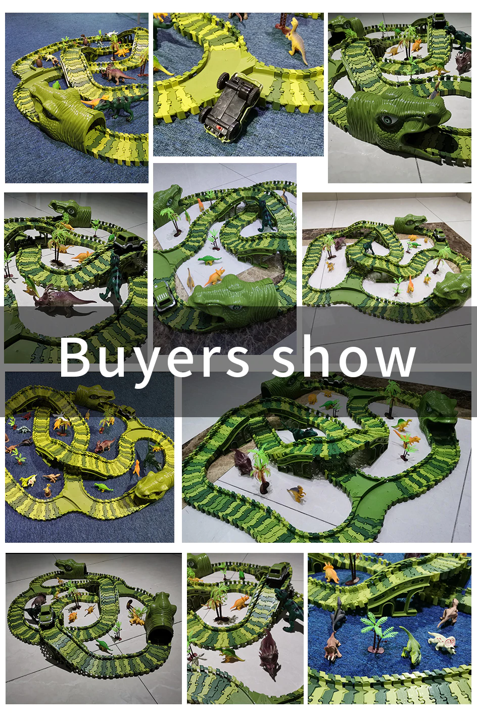 Dinosaur Race Car Flexible Track Set (6 Sizes) DIY Magic