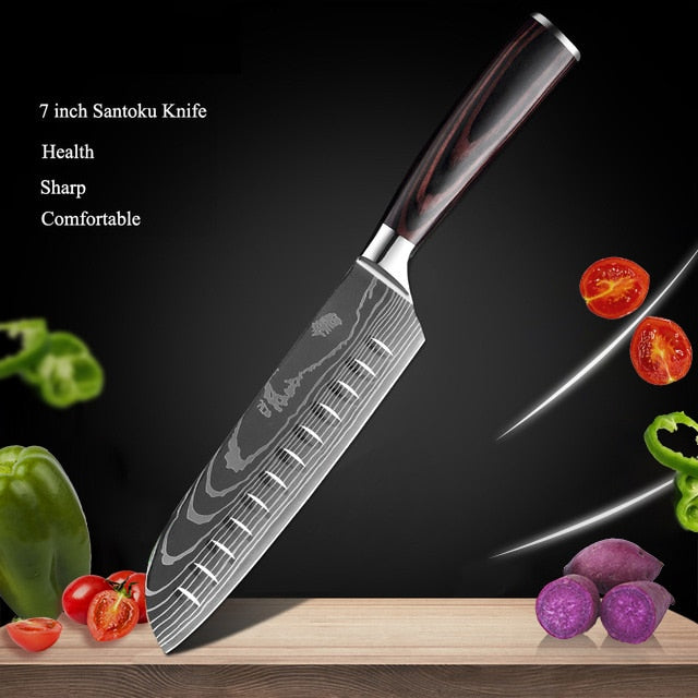 Kitchen Knife Set, Japanese Chef Knives, Chef Knife, Santoku Knives