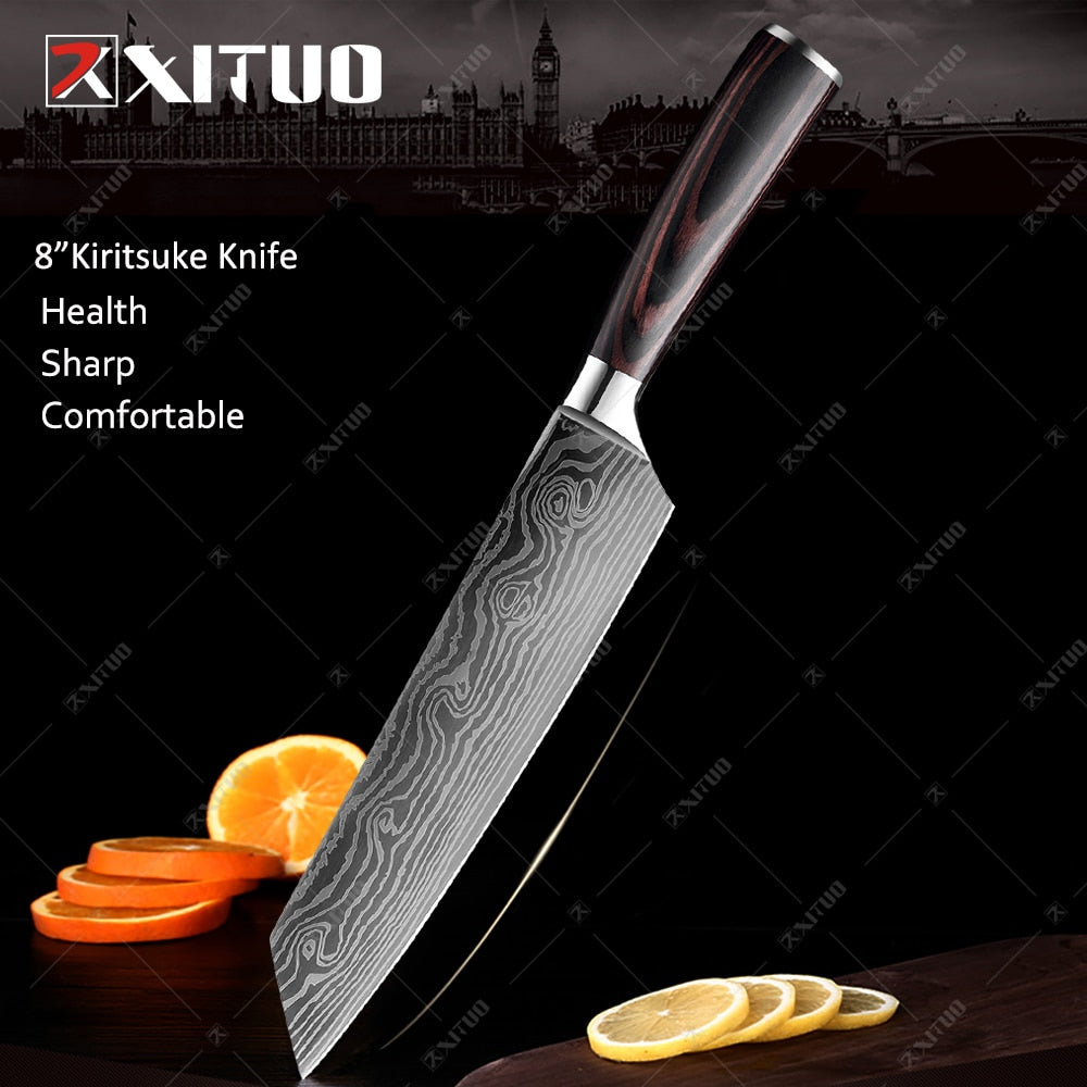 Chef Knives Kitchen Knives set High Carbon Stainless Steel Santoku knife Sharp Cleaver Slicing Knife Best Choice for Kitche